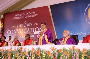 Mukesh Ambani addressing the PDPU Convocation audience